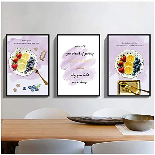 QYH fruitkunst afbeelding huis decoratie Nordic canvas schilderij muurkunst aardbei blauwe bessen brief poster voor woonkamer restaurant Decor50X70cm niet ingelijst