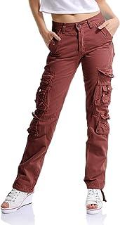 f1b8391a2 OCHENTA Womens Combat Casual Cargo Ocho Bolsillo Militar Ejército Pantalones  de Mujer Etiqueta 28-38