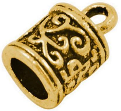 Cheap Wholesale Metal Alloy End Caps Antique Recommended Gold P 13mm x 10 Barrel 8