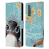 Head Case Designs Licenciado Oficialmente Animal Club International Penguin Royal Faces Carcasa de Cuero Tipo Libro Compatible con Huawei P Smart (2021)