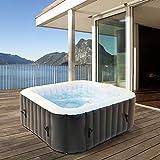 ECD Germany Jacuzzi Hinchable In-exterior para 4 personas 100 chorros de Masaje 150x150cm 600L con Accesorios Extra Bañera de Hidromasaje SPA de Burbujas Calefacción Ideal para Jardín Terraza Exterior