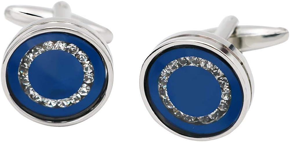 BXLE Ocean Blue Crystal Cufflinks for Men, Shiny Navy Blue Cuff Links, Elegant Round Wedding Business Shirt Studs in Jewelry Gift Box