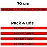 Banda suelo personalizada para espera por seguridad COVID-19 - Medidas de seguridad contra el Coronavirus y otras pandemias. 4 Tiras adhesivas de 70 cm