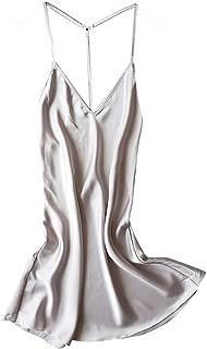 Women's Backless Nightdress,Elegant Sexy Dress Deep V Neck Cold Shoulder Loose Short Dress Sleepwear