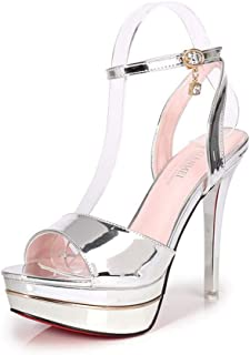 DUQI22 Women's Heels,Summer PU Platform Dress Sandal,Clear High Heels Stripper Shoes Ladies Pole Dance Pumps Sandals
