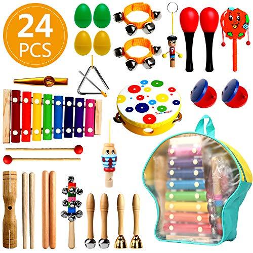 UHAPEER 24 Stück Musikinstrumente Kinder Spielzeug Set Holz Percussion Set für Kleinkinder und Baby Schlagzeug Schlagwerk Rhythm Toys Musik Schlaginstrument mit Tragetasche Osterei