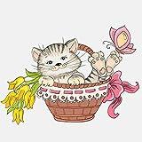 QULIN Auto-Aufkleber 14,3 cm * 10,3 cm Schmetterling Katze Blumenkorb PVCAuto Aufkleber