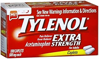TYLENOL Extra Strength Pain Reliever & Fever Reducer 500 mg, Caplets 100 ea Pack of 2