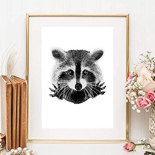 Kunstdruck Din A4 ungerahmt - Süßer Waschbär Racoon Zeichnung schwarz Druck Bild