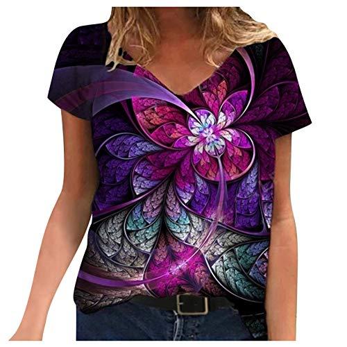 Camiseta Mujer Holgada con Estampado de Moda de Verano con Cuello en V Profundo Talla Grande de Manga Corta Casual Adolescente
