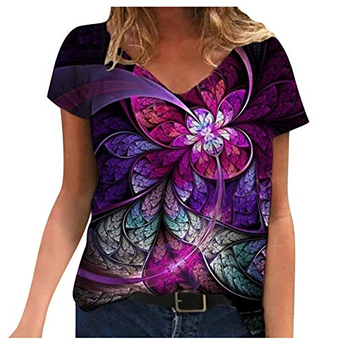 2021 Nuevo Camiseta Mujer Verano Moda Manga Corta Cuadro Flores Impresión Blusa Camisa Cuello Redondo Basica Camiseta Suelto Tops Casual Fiesta T-Shirt Original 3D tee