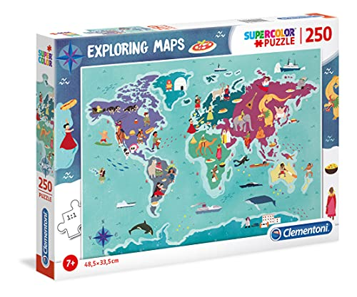 Clementoni - 29064 - Exploring Maps - Customs & Traditions In The World - 250 Pezzi - Made In Italy - Puzzle Bambini 7 Anni +