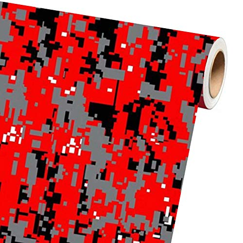 """Sky Auto INC Digital RED Camouflage Vinyl Car Wrap Film Sheet + Free Cutter & Squeegee (40ft x 5ft / 480"""" x 60"""")"""