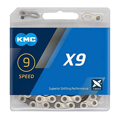 KMC Unisex– Erwachsene X9 Silver/Grey 9-Fach Kette 1/2