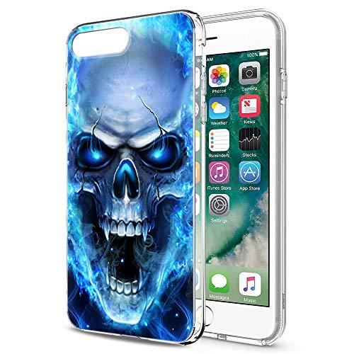 Pnakqil iPhone SE 2020/8/7 Cover Trasparente, Premium Custodia Silicone con Disegni Leggero Ultra Sottile TPU Morbido Antiurto 3D Pattern Bumper Case per iPhone SE 2020/8/7, Teschio Blu