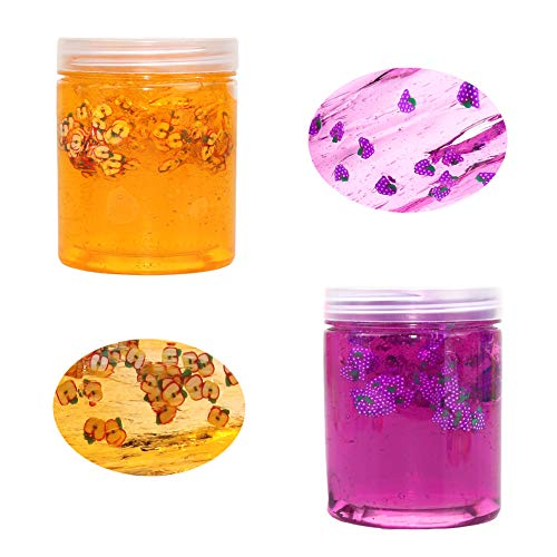 SWZY Crystal Slime Kit,Crystal mud Slime,Crystal Clay Slime,Crystal Mud Toy Non Sticky, Stress Relief Toy for Kids and Adults, Rodaja de UVA + rodaja de Manzana 150ml*2