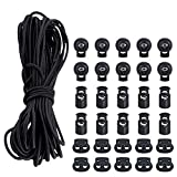 30 PCS Cord Lock Set,Three Types-Plastic Spring Toggles Stoppers and Elastic Cord(3/19