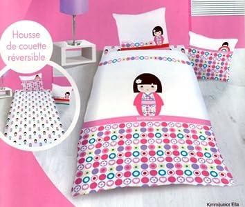 Juego de funda nórdica para niñas, 100% algodón, 140 x 200 cm + funda de almohada • Muñeca japonesa de plumón kimmidoll • Kimmi Junior Ella