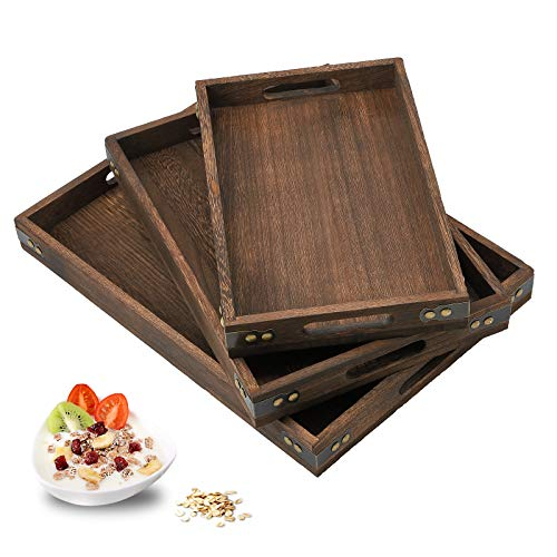 JUZI Serving Tray with Handles-Set of 3-Large Medium and Small Tray for Food Kitchen Party Home Décor Butler or Ottoman-Rustic Wood Serving Tray Set