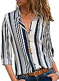 FIYOTE Chemisier Femme Rayures Verticales Chemise Chic Femmes Manches Longues Boutons Devant Blouse Décontracté Col en V Chemisier Lâche T Shirt Multicolore Blanc M(EU40-42)