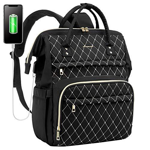 LOVEVOOK Laptop Rucksack Damen elegant mit Laptopfach 15,6 Zoll, Rucksack tasche Damen wasserdicht, Rucksack mädchen teenager klein mit USB Ladeanschluss, schwarz