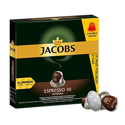 Jacobs Kaffeekapseln Espresso Intenso, Intensität 10 von 12, Vorteilspack, 220 Nespresso®* kompatible Kapseln, 10 x 22 Getränke, nur für kurze Zeit