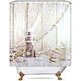 D-M-L Seashell Lighthouse Starfish Set de Cortina de Ducha Beige Juego de Tela para baño náutico Red de Pesca Marine Ocean Beach Poliéster Impermeabilizantes