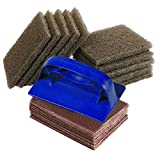 Griddle Cleaning Kit. Includes Heat Resistant Plastic Holder, 40 Griddle Screens, 10 Griddle Pads. Heavy Duty Cleaner Pads with Handle for Cast Iron Cooktops, Metal Grills, Stainless Steel Flat Tops.