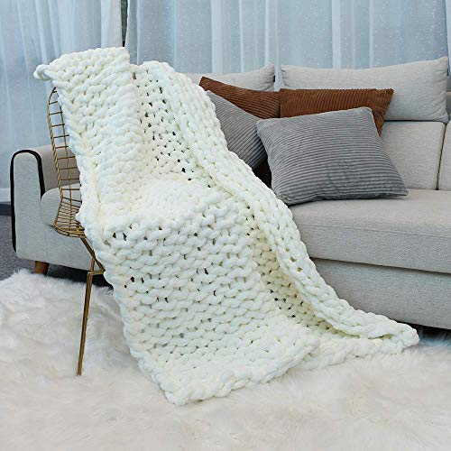 Inshere Luxury Chunky Knit Throw Blanket (48'x60')-Large Cable Knitted Soft Cozy Polyester Chenille Bulky Blankets for Cuddling up in Bed, on The Couch or Sofa (Ivory White)