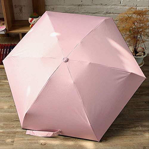 NJSDDB paraplu Nieuwe Mini Capsule Vrouwen Paraplu Effen Kleur Outdoor Zon Paraplu Aluminium Paraplu Stand Vijf Vouwen Waterdichte Regen Poncho, roze
