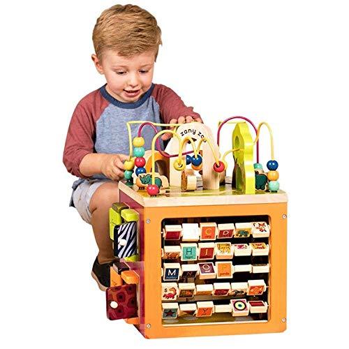 Zeyujie Caja de tesoros de abalorios, cubo de madera para niños con cuentas, feliz Cubo de juegos de granja, Bloque de la granja, Bloque de construcción Cubo de madera Maze Laberinto de animales Dibuj