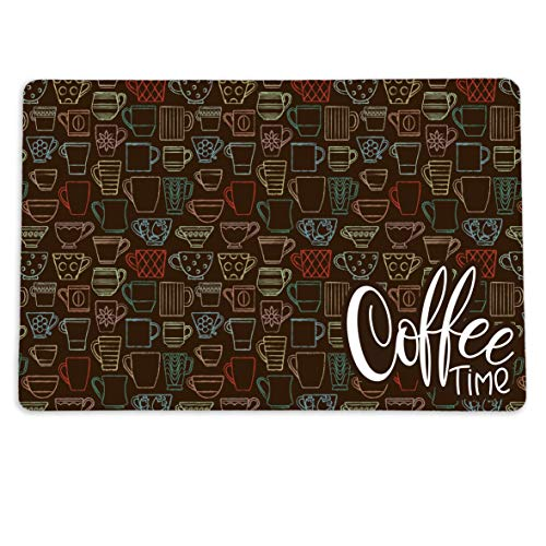 """Coffee Time Placemat for your Coffee Maker or Espresso Machine. 12"""" x 18"""" Washable Coffee Decor Mat for your Coffee Station"""