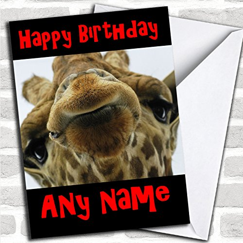 Grappige Giraffe verjaardagskaart met envelop, volledig gepersonaliseerd, snel en gratis verzonden