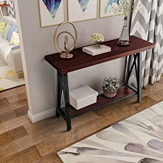 LENTIA Console Table 2-Tier X-Frame Sofa Table with Lower Storage Shelf for Living Room, Hallway, Entryway (Brown)