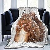XTGOO Squirrel Falling Snow Ultra-Soft Fleece Blanket Flannel Velvet Plush Throw Blanket,50x40 in