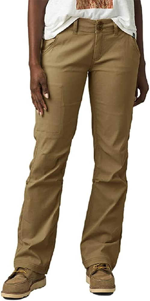 Juybenmu Women Casual Pants Capris Button Elastic Waist Comfy Trousers with Hidden Zip Pockets and Roll-up Leg
