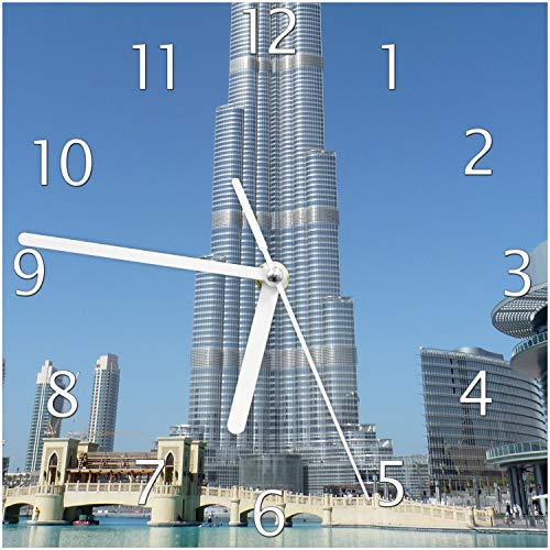 Wallario Glas-Uhr Echtglas Wanduhr Motivuhr; in Premium-Qualität; Größe: 20x20cm; Motiv: Wolkenkratzer in Dubai