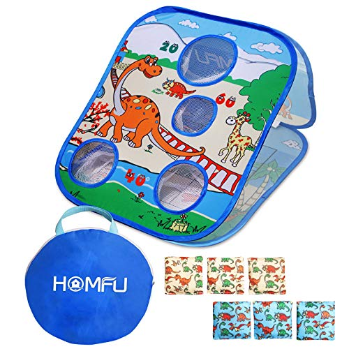 Homfu Bean Bag Toss Game Toy Collapsible Portable 4 Holes Corn Hole Game Cornhole Set with 6 Bean Bags Roman Tic-Tac-Toe Game 2-in-1 Game Boards for Kid's