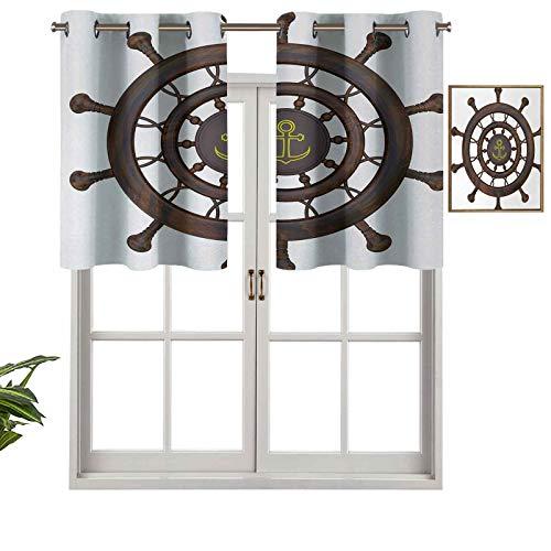 Cortinas con ojales para ventana de madera, con diseño de ancla, estilo rústico, 137 x 45 cm para ventana de cocina