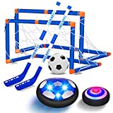 VEPOWER 2-in-1 Hover Hockey Soccer Kids Toys Set, USB Rechargeable and Battery Hockey Floating Air Soccer with...