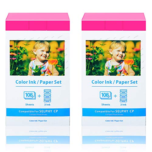 Nineleaf 2 Pack Compatible with Canon KP-108IN KP108 9 Color Ink Cassette and 324 Sheets 4 x 6 Paper Glossy Ink Paper Set for SELPHY CP1300 CP1200 CP910 CP900 CP760 CP770 CP780 Wireless Compact Photo