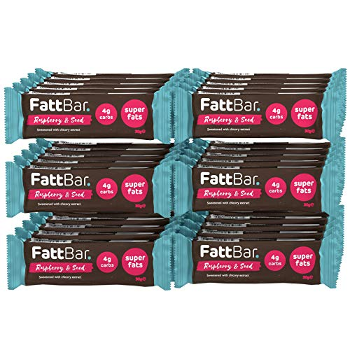 Raspberry & Seed FattBar (Pack of 30) | 4 Gram Carbs Per Bar, Keto, Low Carb, No Added Sugar, All Natural, No Polyols, Healthy Fats, Delicious, Vegan