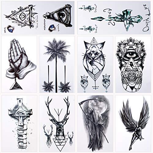 36 Blätter Wasserdicht Temporäre Tattoos Fake Tattoos Body Art Tattoo Aufkleber Schwarz Transfer Tattoos für Arme Schultern Brust Rücken Beine
