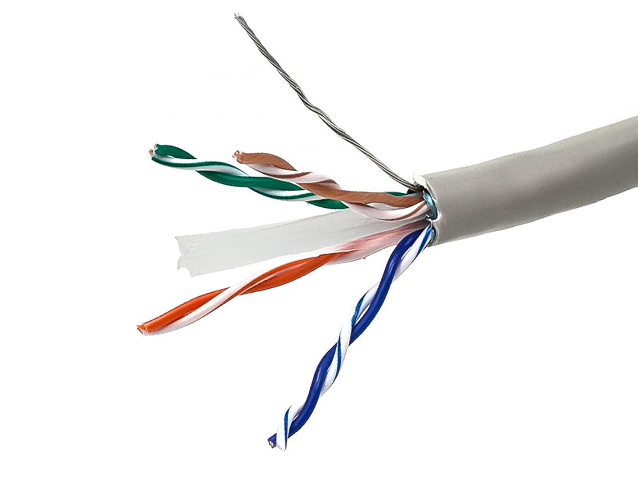 Monoprice 1000FT Cat 6 Bulk Bare Copper Ethernet Network Cable STP, Stranded, In-Wall Rated (CM), 550MHz, 24AWG - Gray