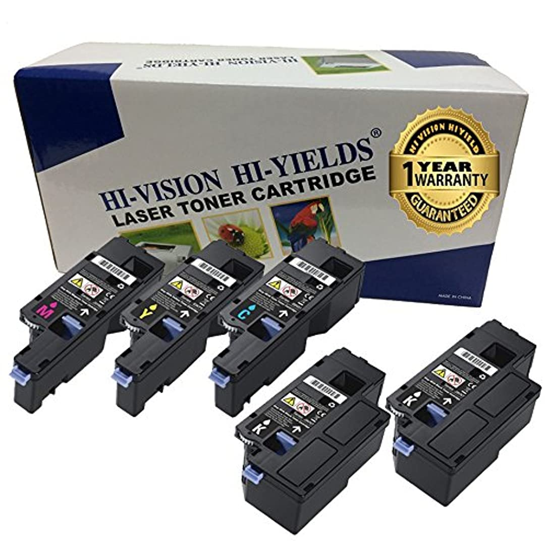 HI-VISION 5 Pack Compatible Dell E525w (593-BBJX, 593-BBJU, 593-BBJW, 593-BBJV) 2 Black, 1 Cyan, 1 Yellow, 1 Magenta Toner Cartridge Replacement For E525w Color Multifunction Printer