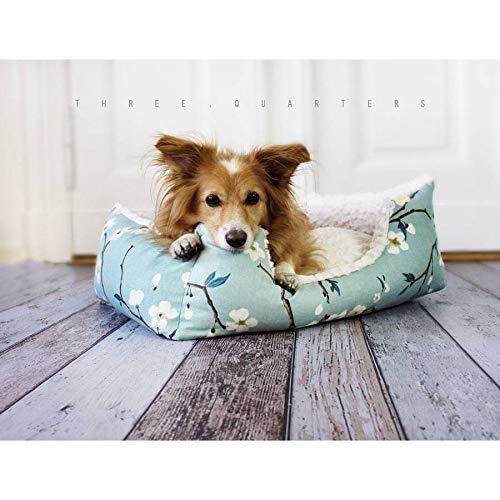 Hundebett, Katzenbett, Kirschblüten, türkis, Hund, Katze, Welpe, mint, Haustier, blau, weich, Kunstfell, kuschelig, Kissen, Schlafplatz