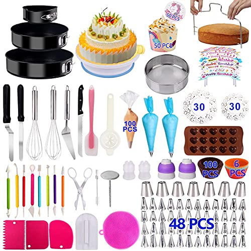 Cake Decorating Supplies Cake Decorating Kits 466 PCS Baking Set with Springform Cake Pans Set,Cake Rotating Turntable,Cake Decorating Tools, Cake Baking Supplies for Beginners and Cake Lovers