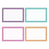 Top Notch Teacher Products Border Lined Index Cards (75 Count), 3' x 5', Chevron Assorted