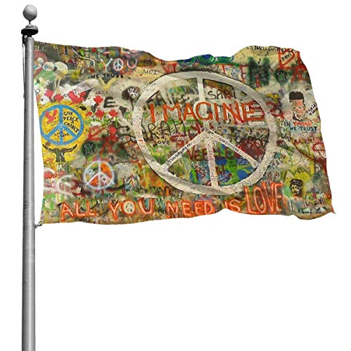 suizhoufa Flagge/Fahne Beautiful Flag for Outdoors Graffiti Wall with Peace Sign Yard Flags Durable Polyester