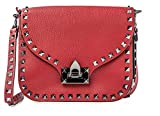 VALENTINO Red Small Rockstud Leather Handbag Bag Silver Authentic Crsbdy Bag New
